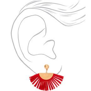 """Gold 2"""" Tassel Fan Drop Earrings - Red,"""