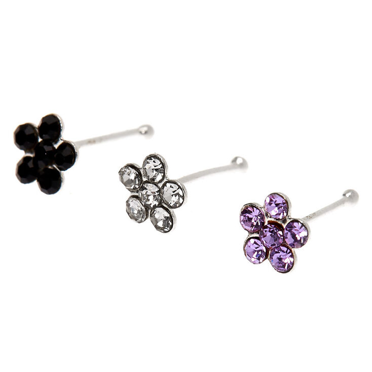 Sterling Silver 22G Flower Nose Studs - 3 Pack,
