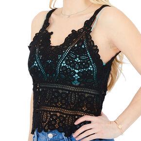 Crochet Tank Top - Black,