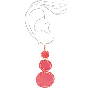 "Gold 3"" Round Seashell Trio Drop Earrings - Red,"