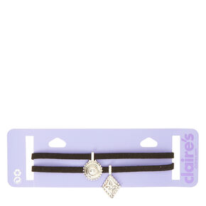Black Velvet Double Layer Choker with Silver Pieces,