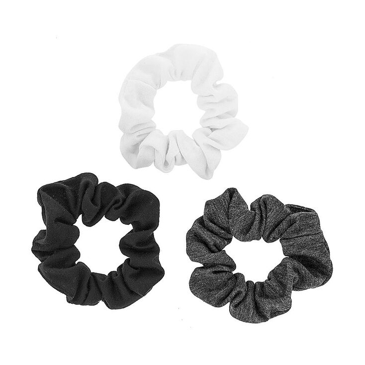Black, White & Gray Jersey Scrunchies - 3 Pack,