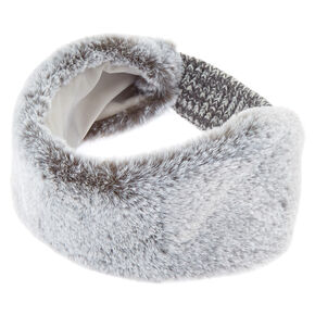 Faux Fur Ear Muff Headband - Gray,