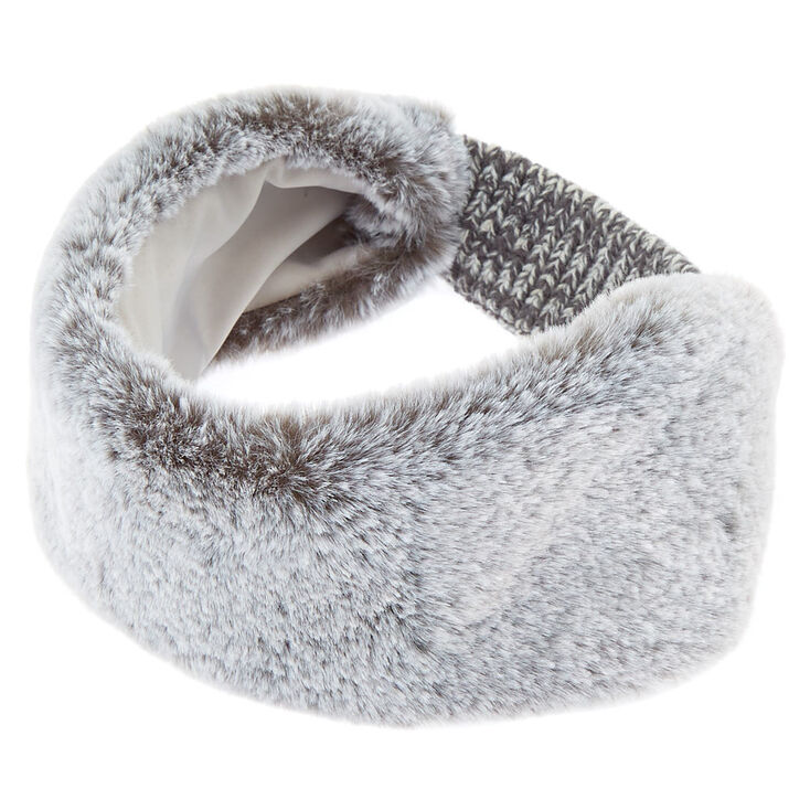 Faux Fur Ear Muff Headband - Gray  2bbc62ad974