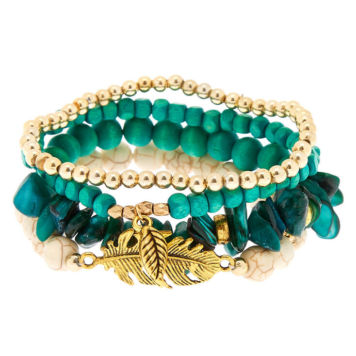 Desert Bead Stretch Bracelets - Turquoise,