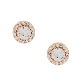 Rose Gold 15MM Halo Crystal Stud Earrings,
