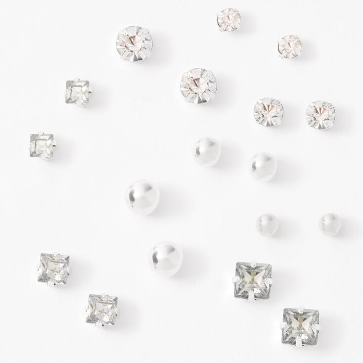 Silver Graduated Mixed Shape Magnetic Stud Earrings - 9 Pack,