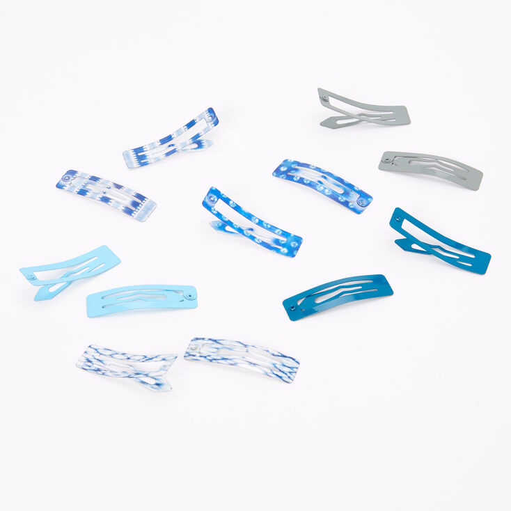 Solid Tie Dye Square Snap Hair Clips - Blue, 12 Pack,