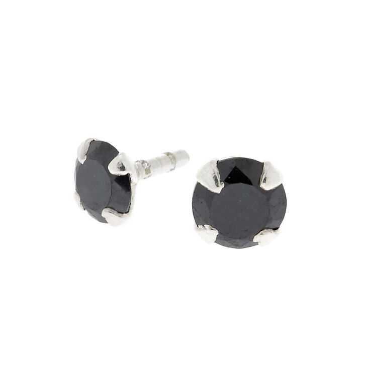 Cubic Zirconia 16G Stone Labret Stud - Black,