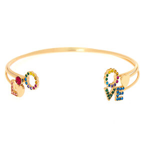 Gold Rainbow Love Cuff Bracelets,
