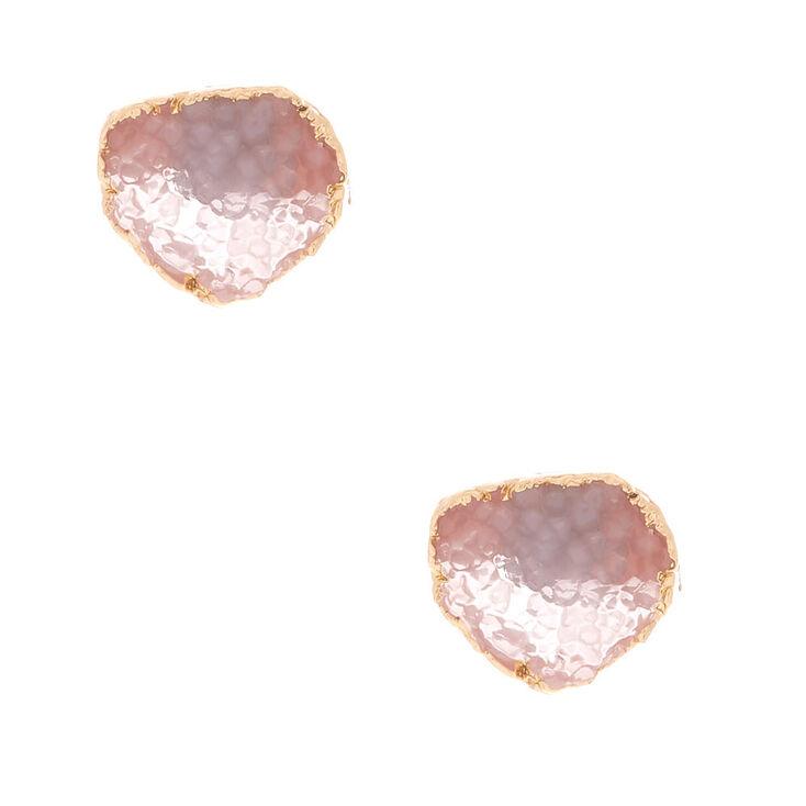 Geode Stud Earrings - Rose Quartz,