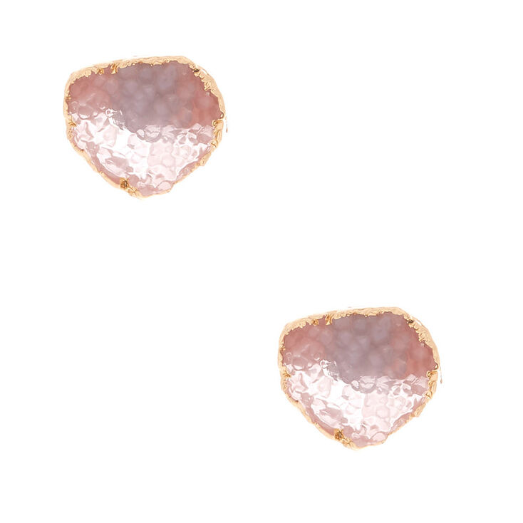 Geode Stud Earrings - Rose Quartz,