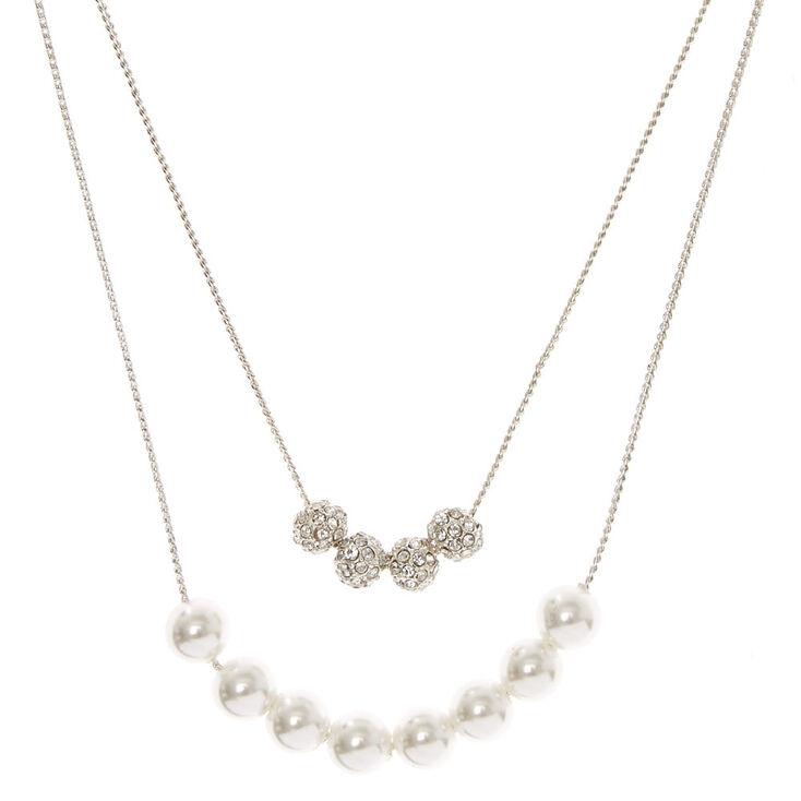 Silver Tone Double Strand Fireball & White Faux Pearl Necklace,