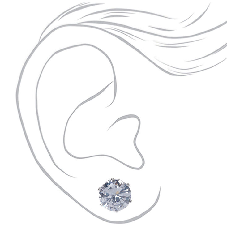Silver Cubic Zirconia Round Stud Earrings - 10MM,