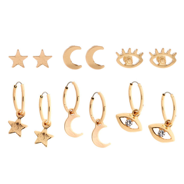 Gold Celestial Evil Eye Mixed Earrings - 6 Pack,