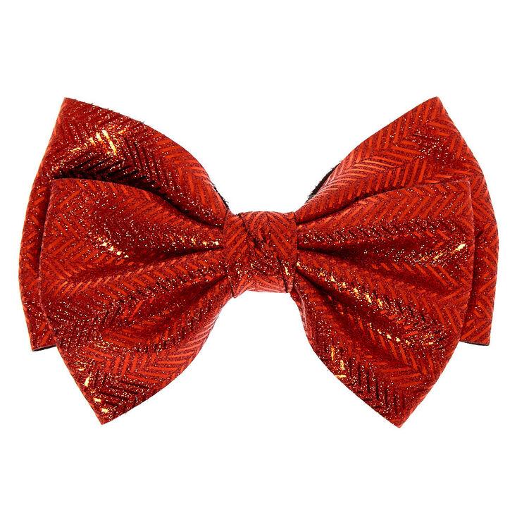 Chevron Glitter Hair Bow Clip - Red,