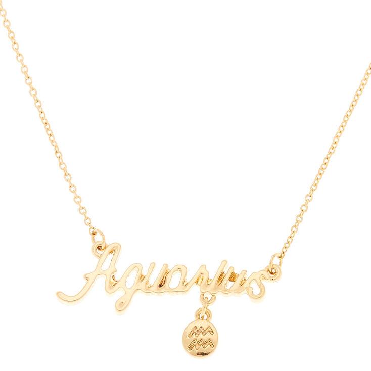 Gold Zodiac Pendant Necklace - Aquarius,