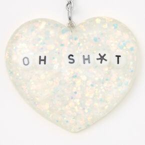 Oh Sh*t Glitter Heart Keychain,