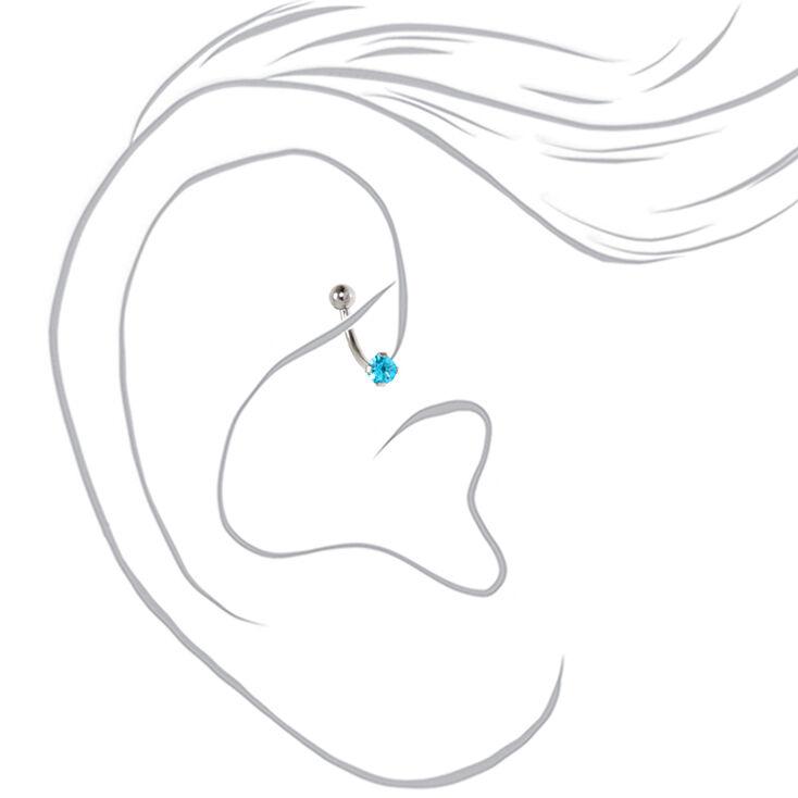 Silver Cubic Zirconia 16G Pastel Crystal Rook Earrings - 3 Pack,