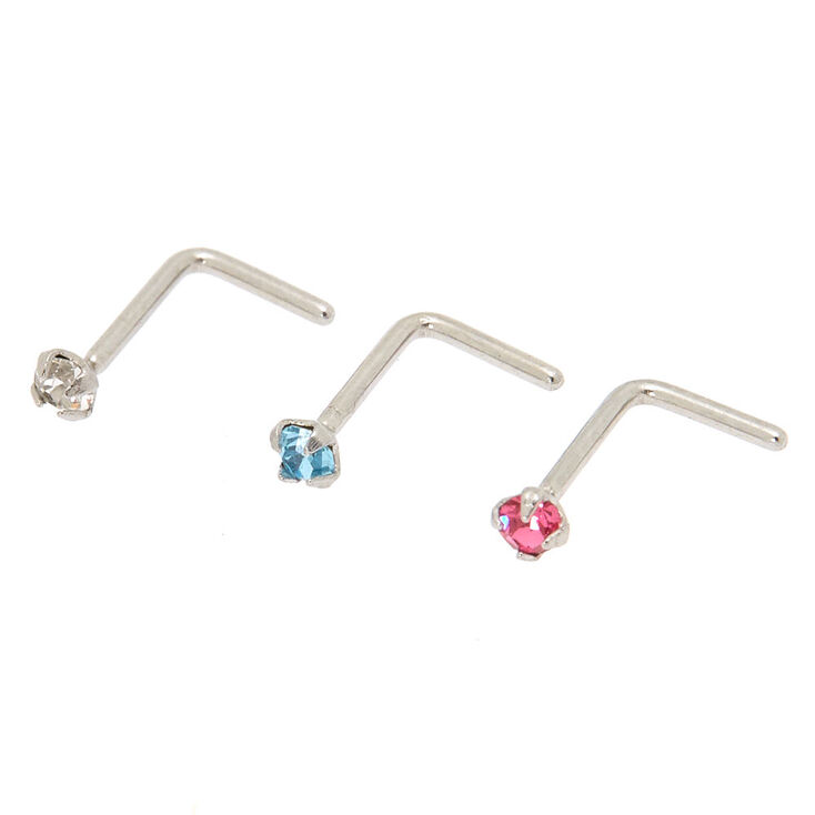 Silver 20G Pastel Nose Studs - 3 Pack,