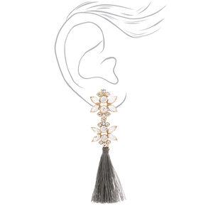 "Crystal 3.5"" Tassel Drop Earrings - Gray,"