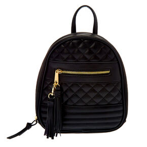 Mini Zippered Strap Quilted Backpack - Black,