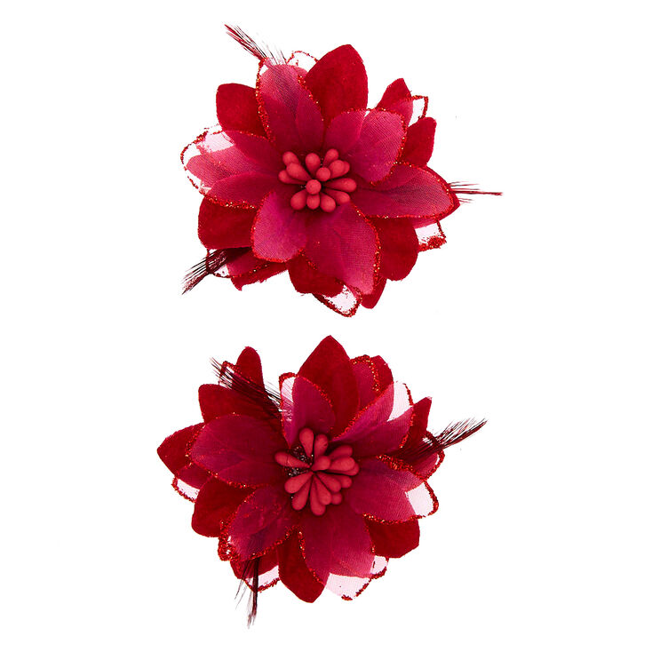 Feather Lilly Flower Hair Clip - Burgundy, 2 Pack,