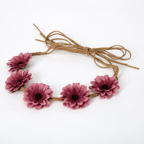 Daisy Braided Tie Headwrap - Berry,
