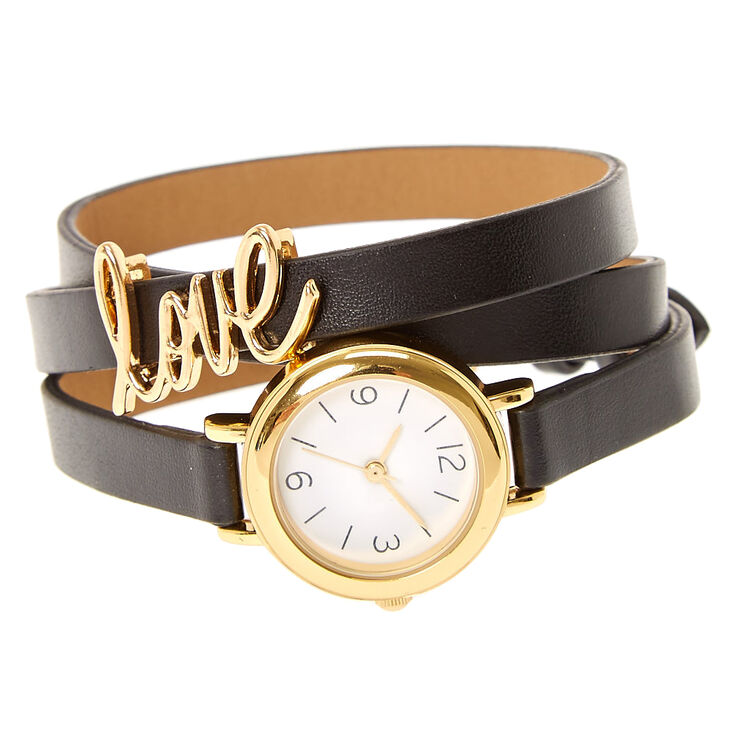 Black Faux Leather Triple Layer Watch,