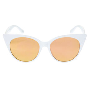 Oversized Mod Cat Eye Sunglasses - White,