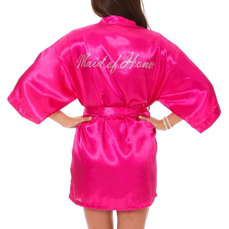 Hot Pink Satin & Crystal Maid of Honor Robe - S/M,