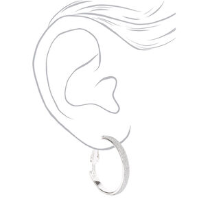 Silver 20MM Thin Glitter Hoop Earrings,