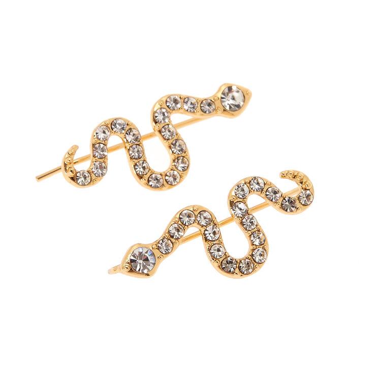 "Simulated Crystal 1"" Snake Ear Crawler Earrings,"