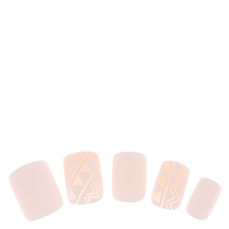 Geometric Square Faux Nail Set - White, 24 Pack,