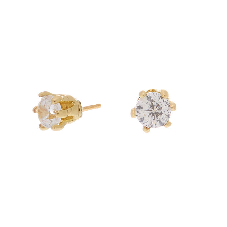 Gold Cubic Zirconia 2MM Round Stud Earrings,