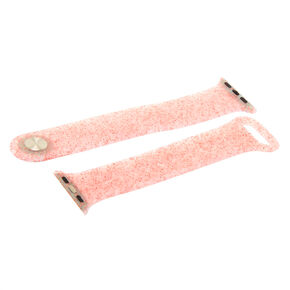 Pink Glitter Silicone Smart Watch Band - Fits 38MM/40MM Apple Watch,