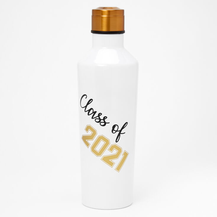 Class of 2021 Metal Water Bottle - White,
