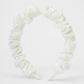 Ruffled Velvet Headband - White,