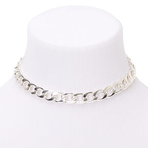 Silver Chunky Chain Choker Necklace,
