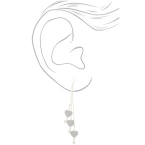 "Silver 4"" Glitter Heart Drop Earrings,"