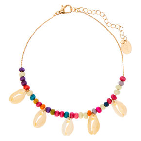 Gold Rainbow Bead Cowrie Shell Anklet,