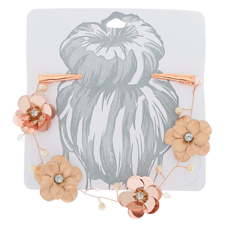 Rose Gold Flower Sequin Hair Swag,