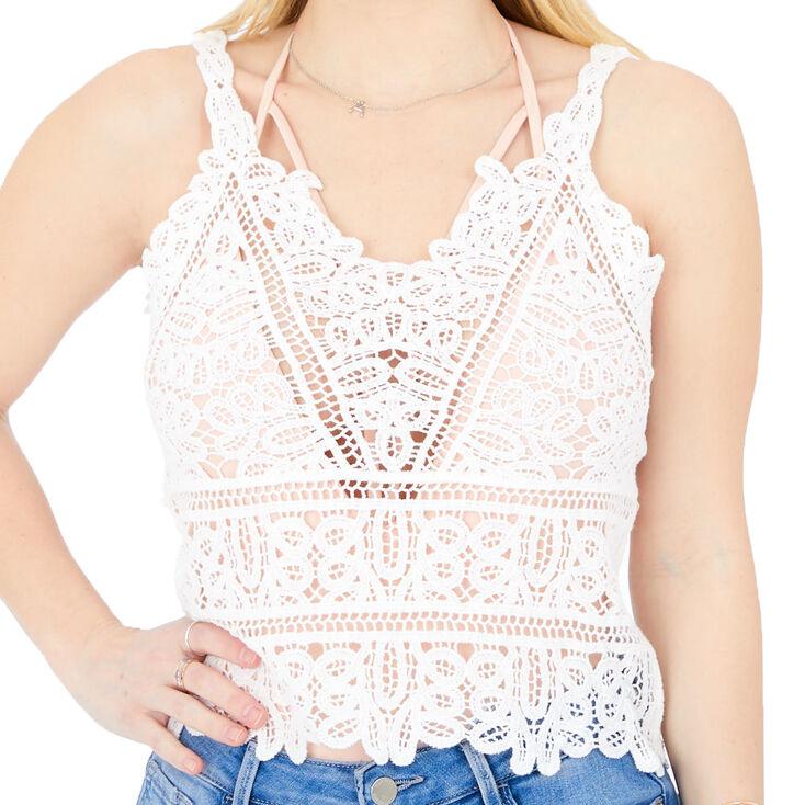 Crochet Tank Top - White,