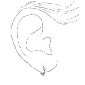 Silver 10MM Glitter Hoop Earrings,