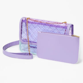 Pastel Colorblock See Through Crossbody Bag - Lilac,