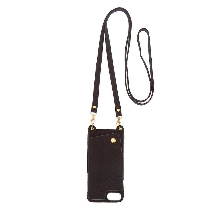 Black Crossbody Phone Case - Fits iPhone 6/7/8,