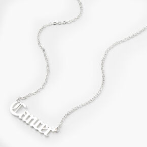 Silver Gothic Zodiac Pendant Necklace - Cancer,
