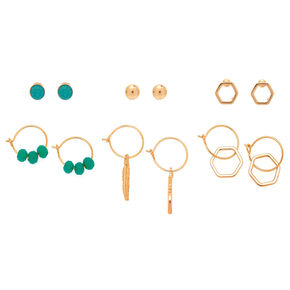 Gold Bead Mixed Earrings - Turquoise, 6 Pack,