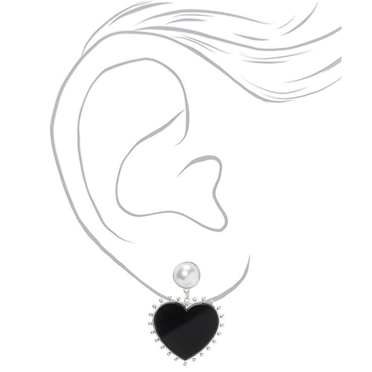 """Silver 1.5"""" Heart Drop Earrings,"""