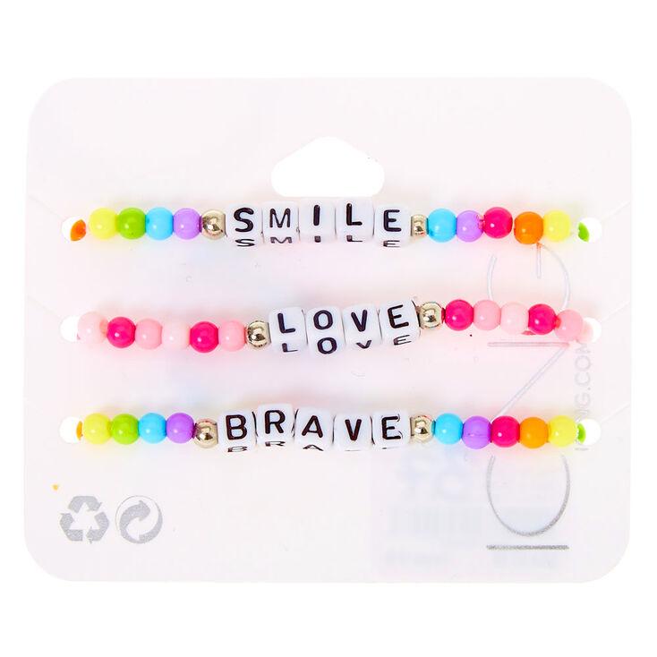 Positive Vibes Rainbow Beaded Stretch Bracelets - 3 Pack,
